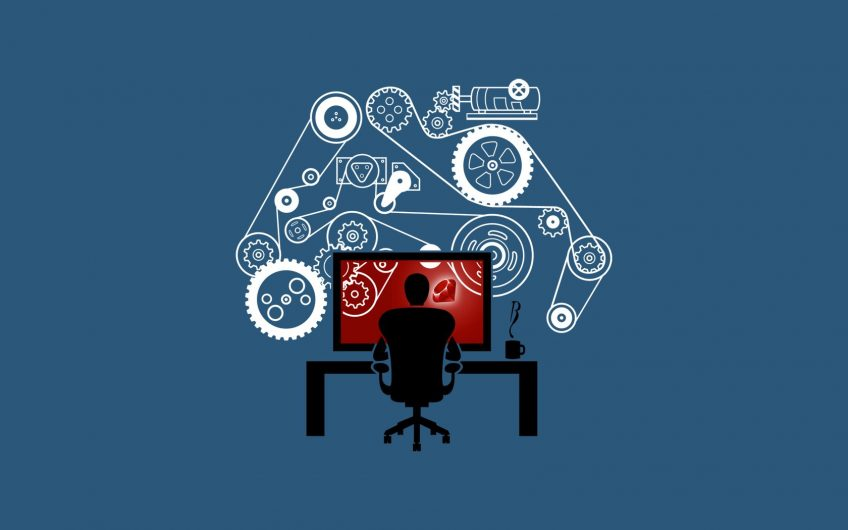 An illustrated silhouette of a developer sitting in front of a large monitor and a gear mechanism in the background